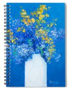 Flowers With Blue Background Spiral Notebook