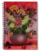 Flowers With Red Background Spiral Notebook