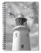 Fly Past - Seagulls Round Southwold Lighthouse In Black And White Spiral Notebook