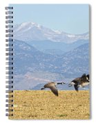 Flying Canadian Geese Rocky Mountains Panorama 2 Spiral Notebook