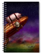 Flying Pig - Rocket - To The Moon Or Bust Spiral Notebook