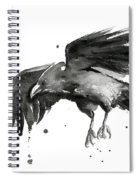 Flying Raven Watercolor Spiral Notebook