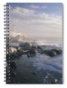 Fog And Rocky Shoreline In Winter With Spiral Notebook