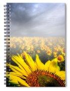 Foggy Field Of Sunflowers Spiral Notebook