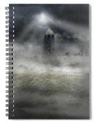 Foggy Landscape With Dark Tower Spiral Notebook