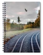 Foggy Nature Along The Train Tracks Spiral Notebook