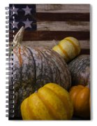 Folk Art Flag And Pumpkins Spiral Notebook