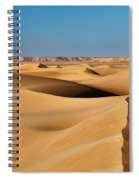 Footprints And 4x4 Offroad Car In Landscape Of Endless Dunes In Sand Desert  Spiral Notebook