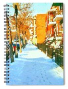 Footprints In The Snow Montreal Winter Street Scene Paintings Verdun Christmas  Memories  Spiral Notebook