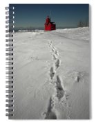 Footprints Leading From The Lighthouse Big Red During Winter Spiral Notebook