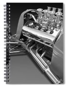 Ford Coupe Hot Rod Engine In Black And White Spiral Notebook