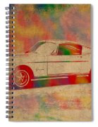 Ford Mustang Watercolor Portrait On Worn Distressed Canvas Spiral Notebook