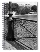 Forever Love In Paris - Black And White Spiral Notebook