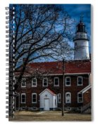 Fort Gratiot Lighthouse And Buildings With Clouds Spiral Notebook