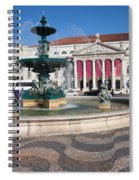 Fountain And Theater On Rossio Square In Lisbon Spiral Notebook