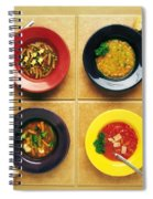 Four Dishes Of Different Food Spiral Notebook