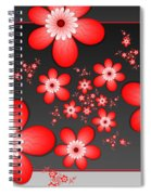 Fractal Cheerful Red Flowers Spiral Notebook