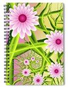 Fractal Fantasy Neon Flower Garden Spiral Notebook
