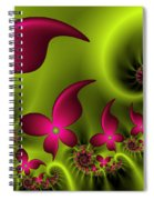 Fractal Fluorescent Fantasy Flowers Spiral Notebook