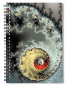 Fractal Spiral Design Grey Khaki Red Spiral Notebook