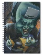 Frankinstein Playing The Air Guitar - Parody - Illustration - Monster Monsters - Humorous Spiral Notebook