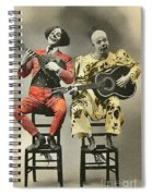 French Clown Musicians Vintage Art Reproduction Tint Spiral Notebook