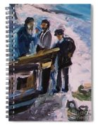 French Fishermen At Beach At Sainte Adresse Spiral Notebook