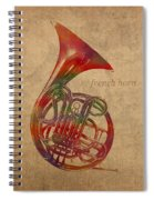 French Horn Brass Instrument Watercolor Portrait On Worn Canvas Spiral Notebook