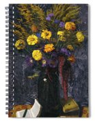 French Marigold Purple Daisies And Golden Sheaves Spiral Notebook