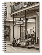 French Quarter - Hangin' Out Sepia Spiral Notebook