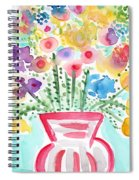 Fresh Picked Flowers- Contemporary Watercolor Painting Spiral Notebook