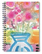 Fresh Picked Flowers In A Blue Vase- Contemporary Watercolor Painting Spiral Notebook