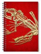Frog Skeleton In Gold On Red  Spiral Notebook