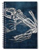 Frog Skeleton In Silver On Blue  Spiral Notebook
