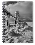Frozen Grand Haven Lighthouse Black And White Spiral Notebook