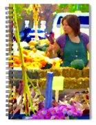 Fruit And Vegetable Vendor Roadside Food Stall Bazaars Grocery Market Scenes Carole Spandau Spiral Notebook