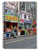 Fruit Shop And Street Scene Shanghai China Spiral Notebook