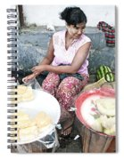 Fruit Vendor On Street Yangon Myanmar Spiral Notebook