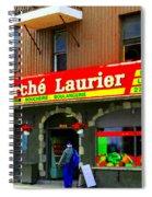 Fruiterie Marche Laurier Butcher Boulangerie De Pain Produits Quebec Market Scenes Carole Spandau  Spiral Notebook