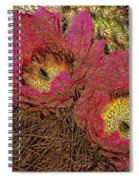 Fuchsia Cactus Flowers Gold Leaf Spiral Notebook
