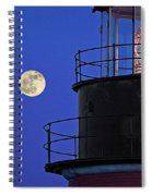 Full Moon And West Quoddy Head Lighthouse Beacon Spiral Notebook