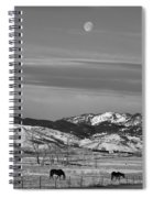 Full Moon On The Co Front Range Bw Spiral Notebook