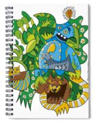 Funky Animals Nature Doodle Spiral Notebook