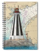 Gannet Rock Lighthouse New Brunswick Canada Nautical Chart Art Spiral Notebook