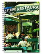 Garden Party Celebrations Under The Cool Green Umbrellas Of Restaurant Chase Cafe Art Scene Spiral Notebook
