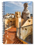 Gaudi Fascinating La Pedrera Rooftop - Impressions Of Barcelona Spiral Notebook