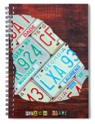 Georgia The Peach State License Plate Map On Fruitwood Spiral Notebook