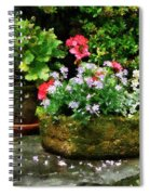 Geraniums And Lavender Flowers On Stone Steps Spiral Notebook
