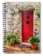 Geraniums By Red Door Spiral Notebook