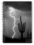 Giant Saguaro Cactus Lightning Strike Bw Spiral Notebook